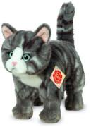 Teddy Hermann Katze stehend, grau, 20 cm