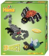 HAMA 3239 Geschenkpackung 3D Insekten 2.500 Stück Midi, Stiftplatte, 2 Motivstützen, ab 5 Jahren