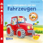 Buch ''Baby Pixi - Band 68: Mein Lieblingsbuch von den Fahrzeugen: mit Klappen und Gucklöchern'', 16 Seiten, ab 12 Monaten