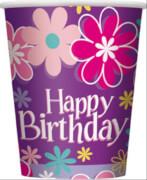 Happy Birthday Blossom Pappbecher 266ml 8 Stück