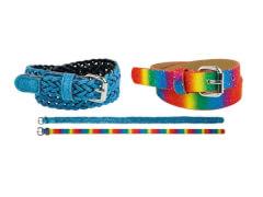Kinder Gürtel Set Regenbogenf.+hellblau 55 cm